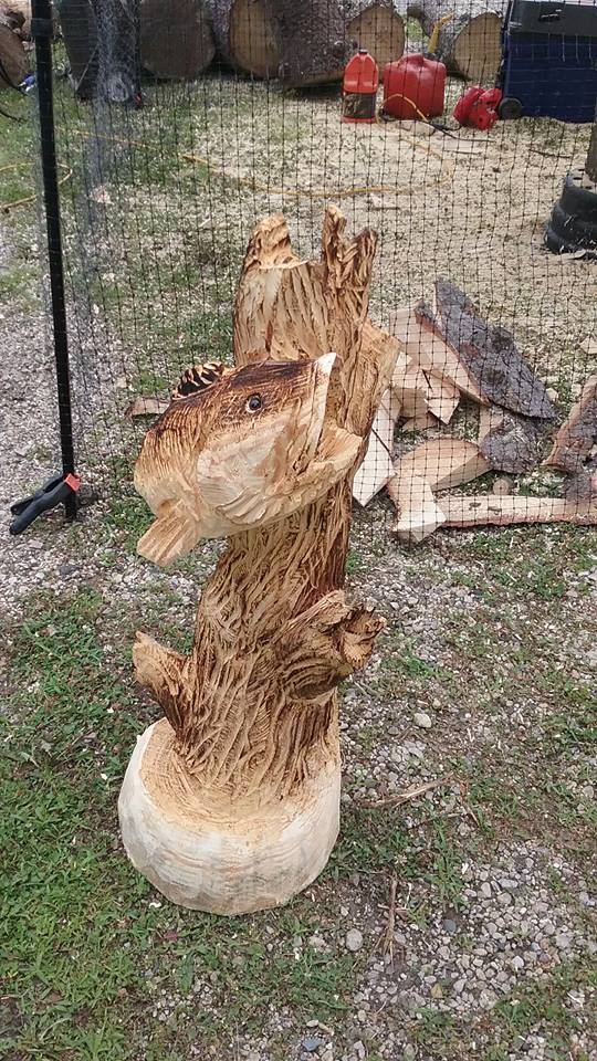 Large mouth bass timberjack chainsaw carvings
